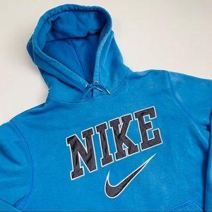 VTG Y2K Nike Air Spellout Light Blue Hoodie Sz Med